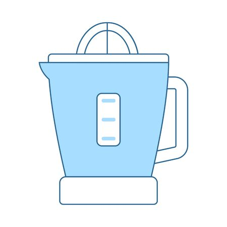 Citrus Juicer Machine Icon. Thin Line With Blue Fill Design. Vector Illustration.