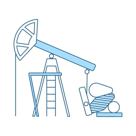 Oil Pump Icon. Thin Line With Blue Fill Design. Vector Illustration.