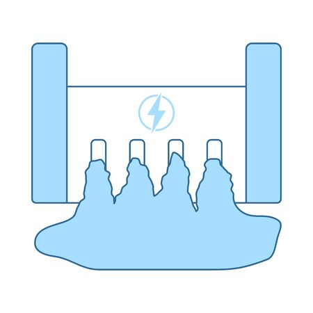 Hydro Power Station Icon. Thin Line With Blue Fill Design. Vector Illustration.