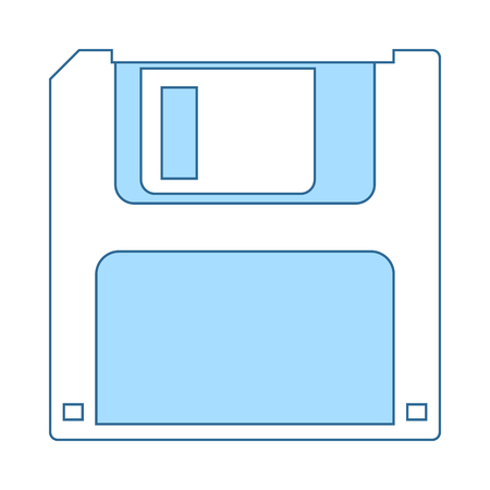 Floppy Icon. Thin Line With Blue Fill Design. Vector Illustration.
