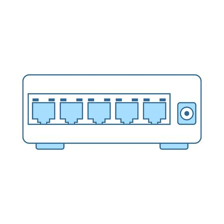 internet Switch Icon. Thin Line With Blue Fill Design. Vector Illustration.
