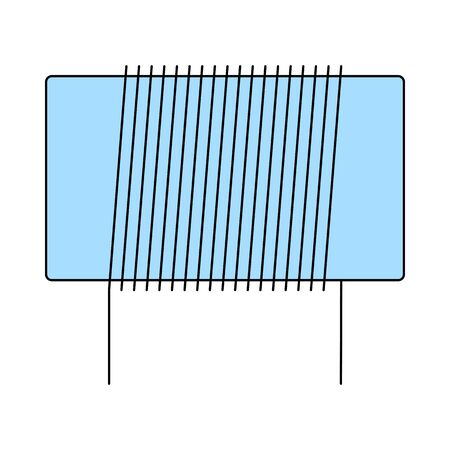 Inductor Coil Icon. Thin Line With Blue Fill Design. Vector Illustration.