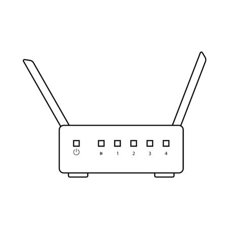 WiFi Router Icon. Outline Simple Design With Editable Stroke. Vector Illustration.
