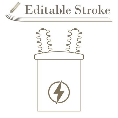 Electric Transformer Icon. Editable Stroke Simple Design. Illustration