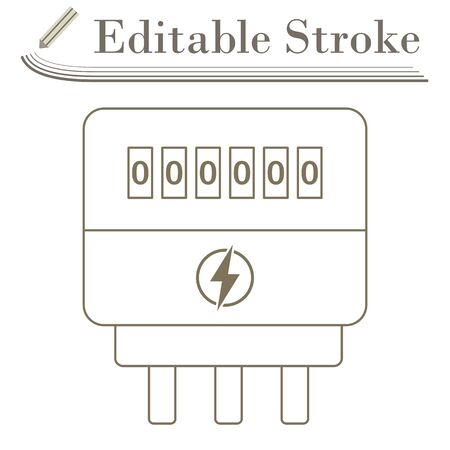Electric Meter Icon. Editable Stroke Simple Design. Ilustración de vector
