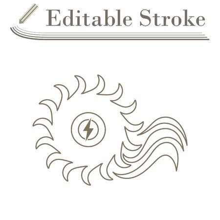 Water Turbine Icon. Editable Stroke Simple Design.