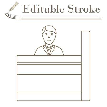 Bank Clerk Icon. Editable Stroke Simple Design. Vector Illustration.