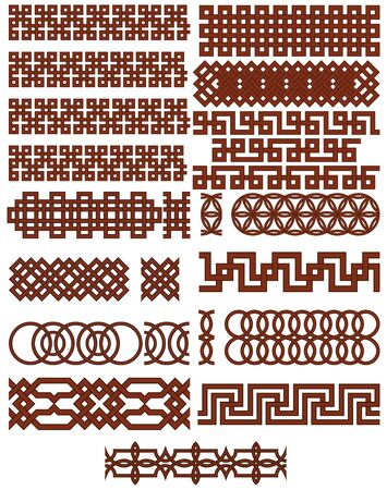 Oriental geometrical seamless borders. Suitable for creating pattern brushes. Vector Illustratie