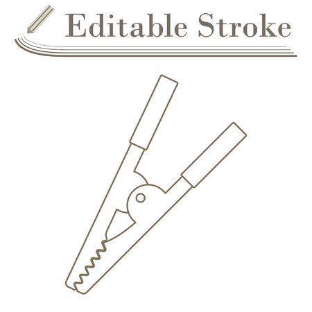 Crocodile Clip Icon. Editable Stroke Simple Design. Vector Illustration. Çizim