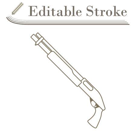 Pump-action Shotgun Icon. Editable Stroke Simple Design. Vector Illustration.