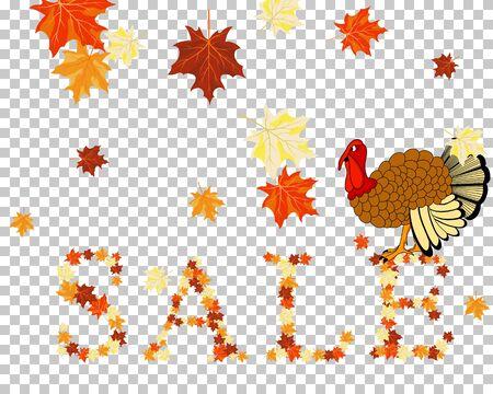 Thanksgiving Day. Transparency Grid Design. Vector Illustration.
