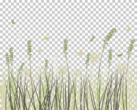 Summer Meadow Background.  Transparency Grid Design. Vector Illustration.