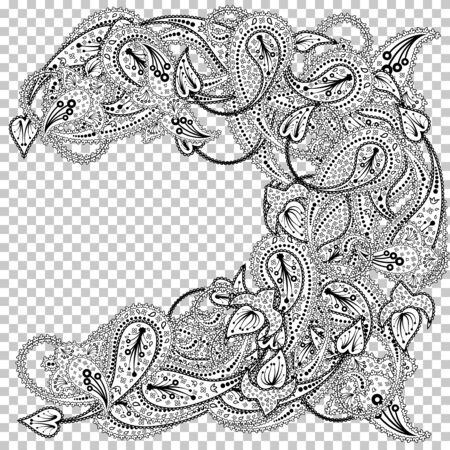 Paisley Pattern With Copy-Space Frame. Transparency Grid Design. Vector Illustration.