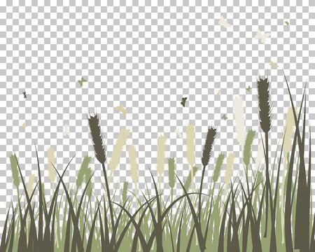 Summer Meadow Background.  Transparency Grid Design. Vector Illustration.