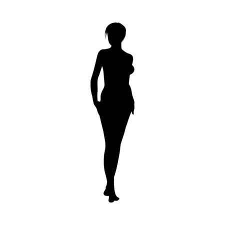Naked sexy girls silhouette. Very smooth and detailed. Hairstyle in separate group and can be modified or recolor. Vector illustration.