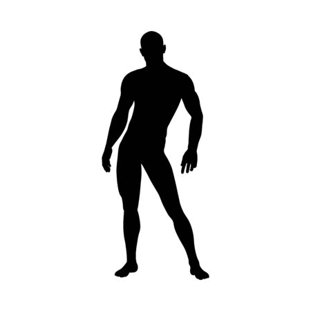 Standing Pose Man Silhouette. Very smooth and detailed. Vector illustration. Ilustração