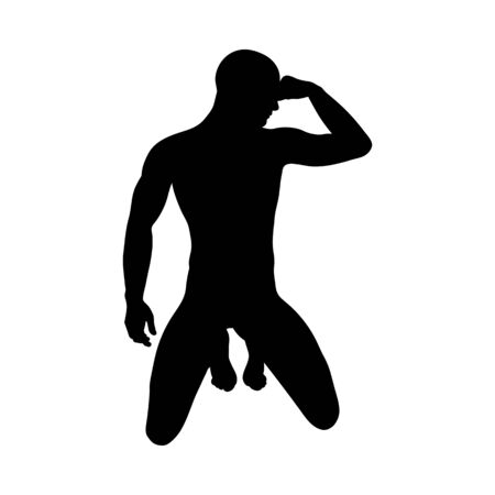 Sitting Pose Man Silhouette. Very smooth and detailed. Vector illustration.  イラスト・ベクター素材