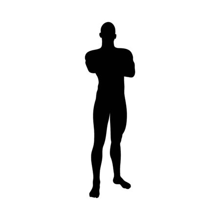 Standing Pose Man Silhouette. Very smooth and detailed. Vector illustration. Иллюстрация