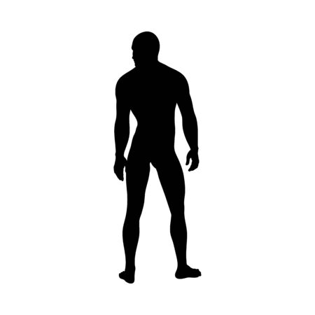 Standing Pose Man Silhouette. Very smooth and detailed. Vector illustration. Vettoriali