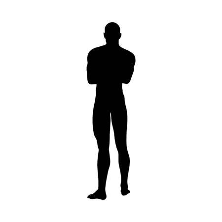 Siluetta dell'uomo di posa in piedi. Molto scorrevole e dettagliato. Illustrazione vettoriale.