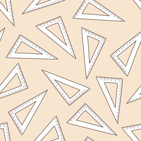 School Triangle Scale Seamless. Back To School Sketch Doodle Design. Vector Illustration. Ilustração