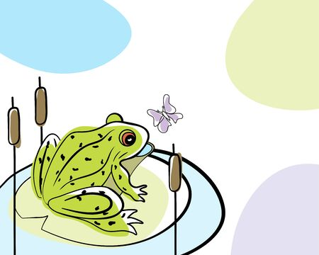 Summer time doodle card.   vector illustration without transparency. Illusztráció