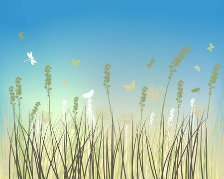 Fall (Autumn) Meadow Background  With Flying Butterflies. Vector Illustration. 写真素材 - 128780051