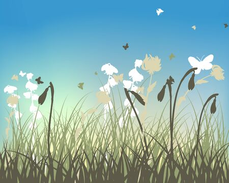 Fall (Autumn) Meadow Background  With Flying Butterflies. Vector Illustration.