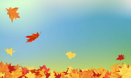Fall (Autumn) Background With Maple Leaves. Vector Illustration. Stock Illustratie