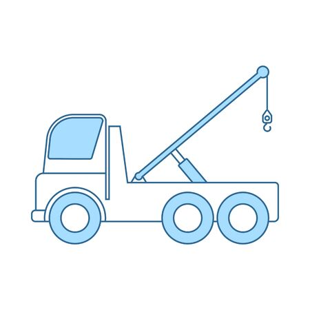 Car Towing Truck Icon. Thin Line With Blue Fill Design. Vector Illustration. Illustration