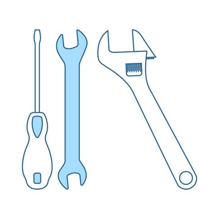Wrench And Screwdriver Icon. Thin Line With Blue Fill Design. Vector Illustration. Stock Illustratie