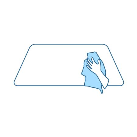 Wipe Car Window Icon. Thin Line With Blue Fill Design. Vector Illustration.