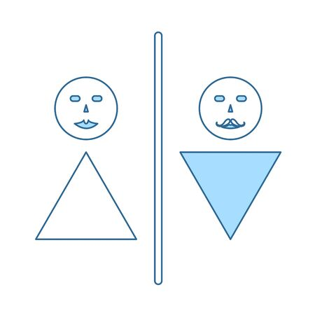 Toilet Icon. Thin Line With Blue Fill Design. Vector Illustration.