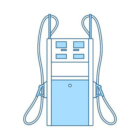 Fuel Station Icon. Thin Line With Blue Fill Design. Vector Illustration. Foto de archivo - 128981517