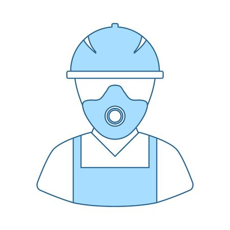 Repair Worker Icon. Thin Line With Blue Fill Design. Vector Illustration. Stock Illustratie