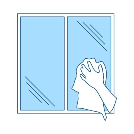 Hand Wiping Window Icon. Thin Line With Blue Fill Design. Vector Illustration.