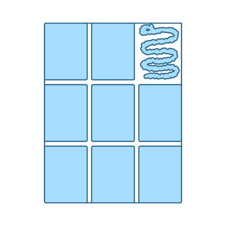 Wall Tiles Icon. Thin Line With Blue Fill Design. Vector Illustration.