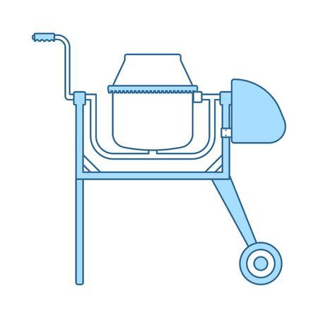 Icon Of Concrete Mixer. Thin Line With Blue Fill Design. Vector Illustration. Stock Illustratie