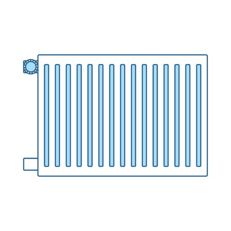 Icon Of Radiator. Thin Line With Blue Fill Design. Vector Illustration.