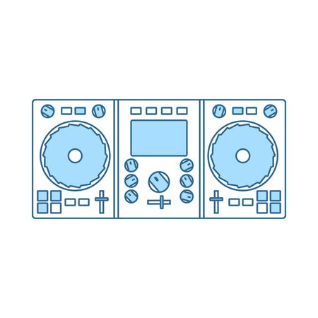 DJ Icon. Thin Line With Blue Fill Design. Vector Illustration. Illustration