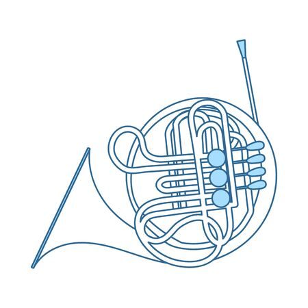 Horn Icon. Thin Line With Blue Fill Design. Vector Illustration.