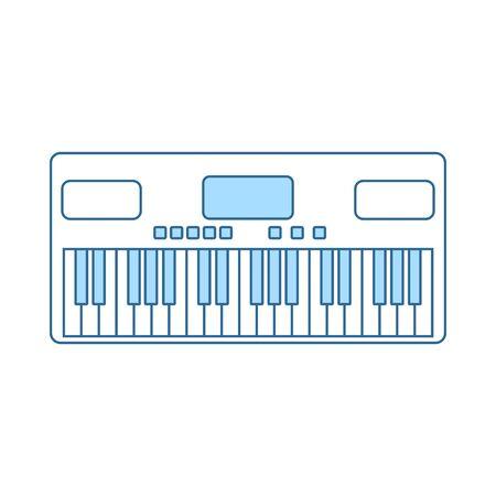 Music Synthesizer Icon. Thin Line With Blue Fill Design. Vector Illustration. Ilustração