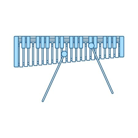 Xylophone Icon. Thin Line With Blue Fill Design. Vector Illustration.