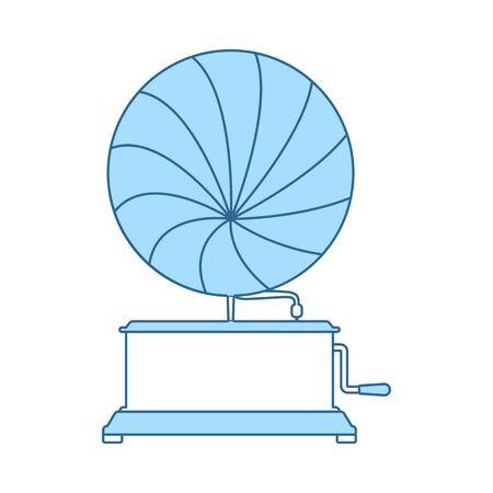 Gramophone Icon. Thin Line With Blue Fill Design. Vector Illustration. Standard-Bild - 129175978
