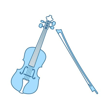 Violin Icon. Thin Line With Blue Fill Design. Vector Illustration. Ilustração