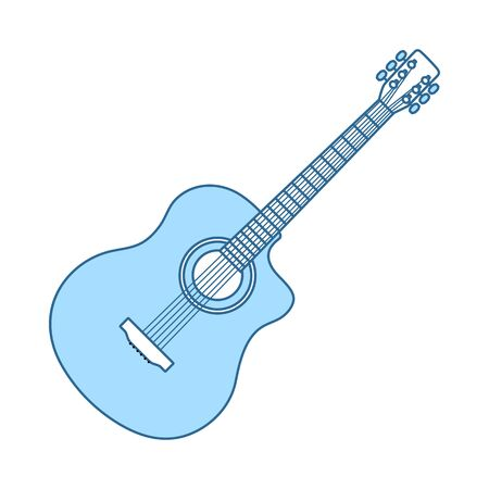 Acoustic Guitar Icon. Thin Line With Blue Fill Design. Vector Illustration. Banque d'images - 129175979