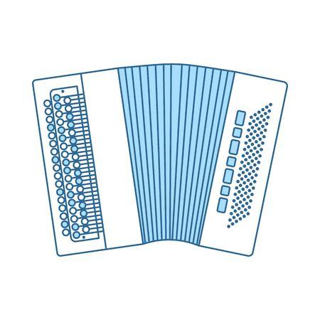 Accordion Icon. Thin Line With Blue Fill Design. Vector Illustration. Standard-Bild - 129175982