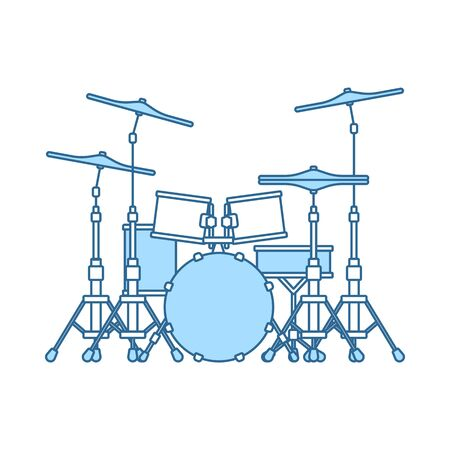Drum Set Icon. Thin Line With Blue Fill Design. Vector Illustration.