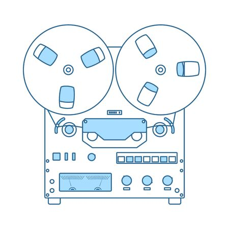 Reel Tape Recorder Icon. Thin Line With Blue Fill Design. Vector Illustration. Ilustração