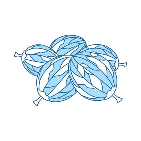 Icon Of Gooseberry. Thin Line With Blue Fill Design. Vector Illustration. Ilustracja